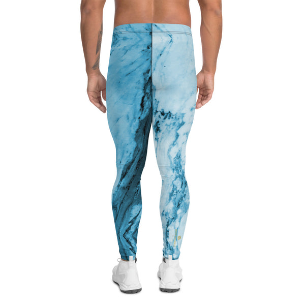 Blue Marble Print Meggings, Designer Abstract Men's Leggings-Made in USA/EU-Heidi Kimura Art LLC-Heidi Kimura Art LLC