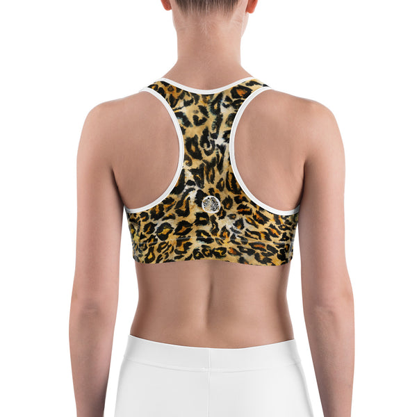 Leopard Animal Skin Print Women's Workout Fitness Bra - Made in USA/EU (US Size: XS-2XL)-Sports Bras-Heidi Kimura Art LLC