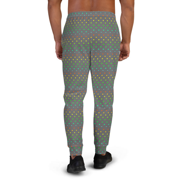 Gray Polka Dots Rainbow Print Designer Men's Joggers-Made in EU (US Size: XS-3XL)-Men's Joggers-Heidi Kimura Art LLC