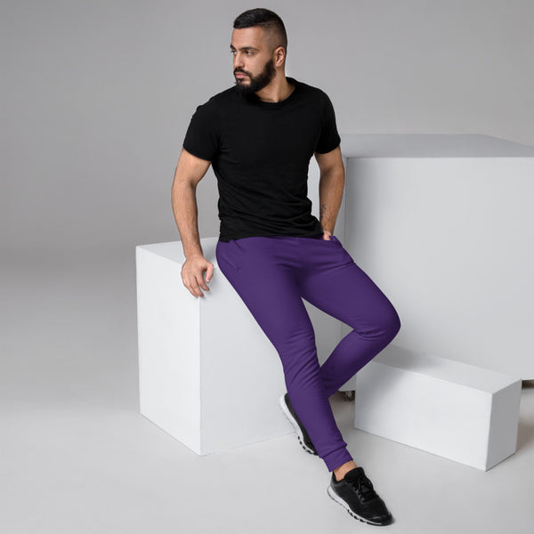 Dark Purple Designer Men's Joggers, Best Purple Solid Color Sweatpants For Men, Modern Slim-Fit Designer Ultra Soft & Comfortable Men's Joggers, Men's Jogger Pants-Made in EU/MX (US Size: XS-3XL)