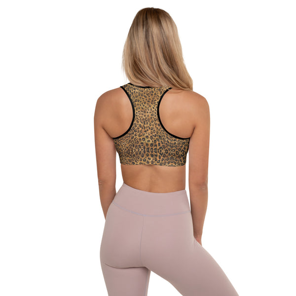 Leopard Padded Sports Bra, Women's Animal Print Fitness Gym Bra-Made in USA/EU-Heidi Kimura Art LLC-Heidi Kimura Art LLCLeopard Padded Sports Bra, Brown Cute Wild Premium Quality Animal Print Women's Padded Yoga Gym Workout Sports Bra For Female Athletes - Made in USA/ EU (US Size: XS-2XL)