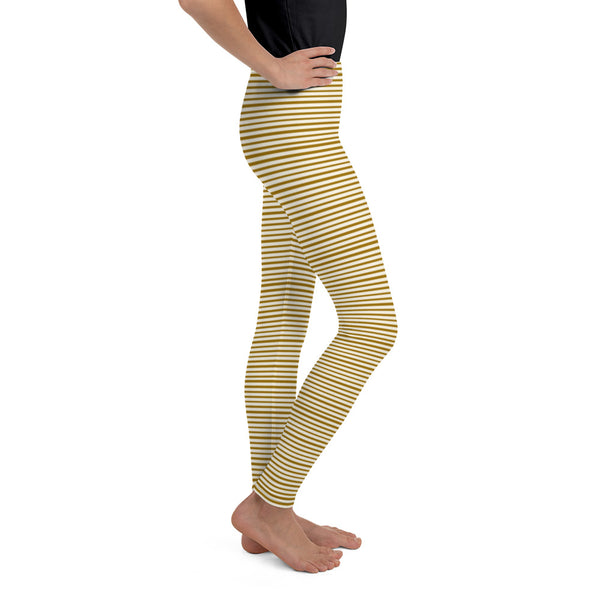 Dense Brown Light Yellow Horizontal Stripe Print Youth Leggings - Made in USA/ EU-Youth's Leggings-Heidi Kimura Art LLC
