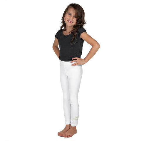 Solid White Color Premium Quality Kid's Leggings Tight Comfy Pants- Made in USA/EU-Kid's Leggings-Heidi Kimura Art LLC Solid White Color Girl's Tights, Solid White Color Print Designer Kid's Girl's Leggings Active Wear 38-40 UPF Fitness Workout Gym Wear Running Tights, Comfy Stretchy Pants (2T-7) Made in USA/EU, Girls' Leggings & Pants, Leggings For Girls, Designer Girls Leggings Tights, Leggings For Girl Child