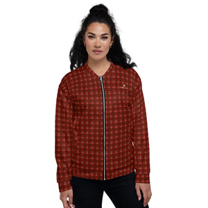 Red Plaid Print Bomber Jacket, Unisex Bomber Jacket For Men/ Women-Heidi Kimura Art LLC-XS-Heidi Kimura Art LLC Red Plaid Print Bomber Jacket, Classic Preppy Traditional Style Premium Quality Modern Unisex Jacket For Men/Women With Pockets-Made in EU