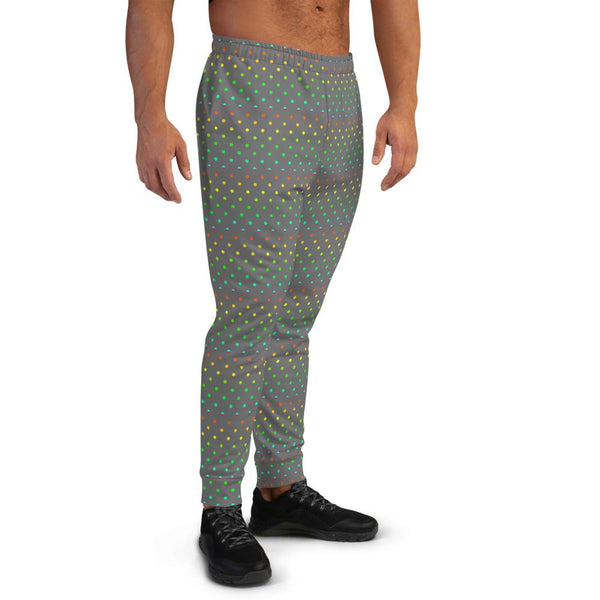 Gray Polka Dots Rainbow Print Designer Men's Joggers-Made in EU (US Size: XS-3XL)-Men's Joggers-Heidi Kimura Art LLC Gray Polka Dots Men's Joggers, Gray Gay Pride Polka Dots Print Designer Ultra Soft & Comfortable Men's Joggers, Men's Jogger Pants-Made in EU (US Size: XS-3XL)