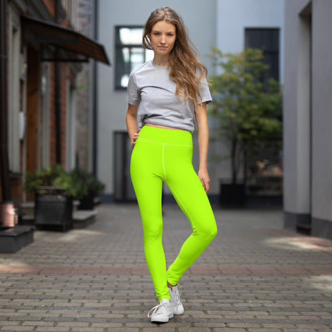 Women's Neon Green Solid Color Active Wear Fitted Leggings Sports Long Yoga & Barre Pants - Made in USA/EU (XS-6XL)