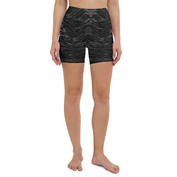 Black Tiger Striped Yoga Shorts, Animal Print Women's Short Tights-Made in USA/EU-Heidikimurart Limited -Heidi Kimura Art LLCBlack Tiger Striped Yoga Shorts, Animal Print Women's Workout Premium Quality Women's High Waist Spandex Fitness Workout Yoga Shorts, Yoga Tights, Fashion Gym Quick Drying Short Pants With Pockets - Made in USA/EU/MX (US Size: XS-XL)