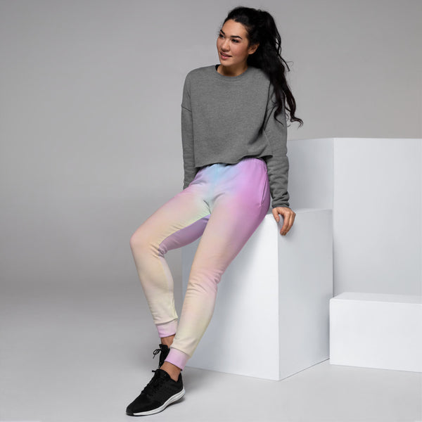 Unicorn Colors Women's Joggers, Abstract Print Casual Colorful Slim Fit Soft Women's Joggers Sweatpants -Made in EU (US Size: XS-3XL) Plus Size Available, Women's Joggers, Soft Joggers Pants Womens, Women's Long Joggers, Women's Soft Joggers, Lightweight Jogger Pants Women's, Women's Athletic Joggers, Women's Jogger Pants
