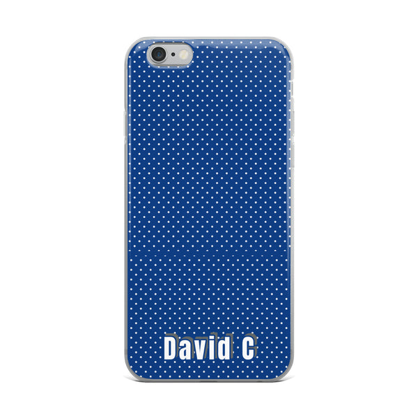 Blue Polka Dots Print Custom Names iPhone Case-Made in USA-Phone Case-iPhone 6 Plus/6s Plus-Heidi Kimura Art LLC