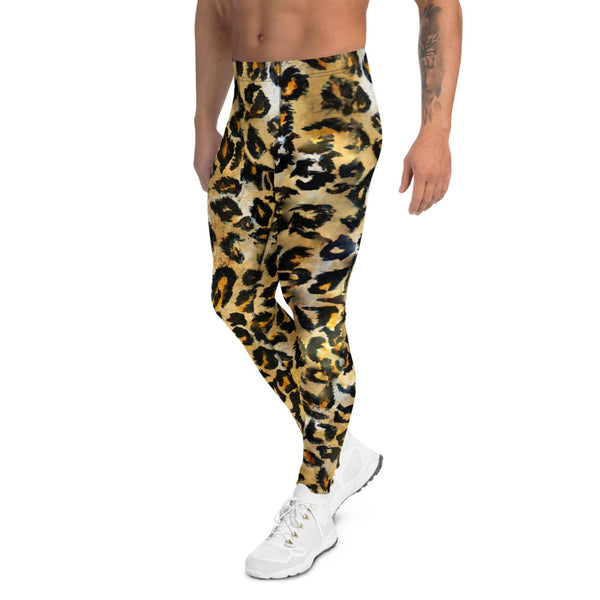 Leopard Rave Men's Leggings, Animal Print Meggings-Made in USA/EU-Heidi Kimura Art LLC-Heidi Kimura Art LLC Leopard Rave Men's Leggings, Wild Animal Print Premium Classic Elastic Comfy Men's Leggings Fitted Festival Tights Pants - Made in USA/EU (US Size: XS-3XL) Spandex Meggings Men's Workout Gym Tights Leggings, Compression Tights, Kinky Fetish Men Pants