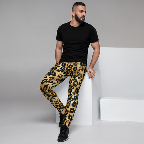 Leopard Print Men's Joggers, Brown Animal Print Casual Designer Ultra Soft & Comfortable Men's Joggers, Men's Jogger Pants-Made in EU (US Size: XS-3XL)