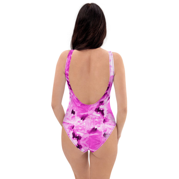 Pink Floral One-Piece Swimsuit, Roses Floral Print Women's Swimwear-Made in USA/EU-Heidi Kimura Art LLC-Heidi Kimura Art LLC Pink Floral One-Piece Swimsuit, Roses Flower Print Best Luxury 1-Piece Unpadded Swimwear Bathing Suits, Beach Wear - Made in USA/EU/MX (US Size: XS-3XL) Plus Size Available