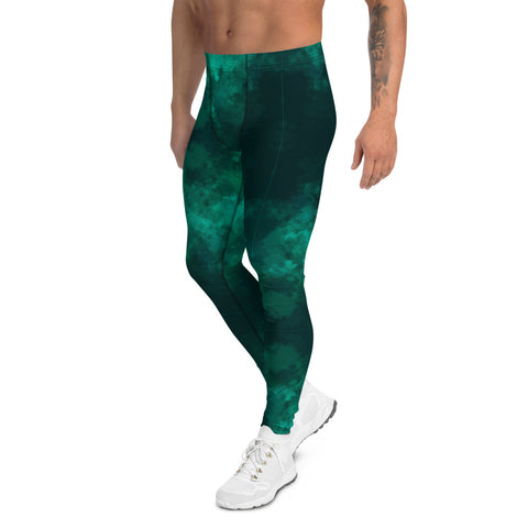 Green Abstract Men's Leggings, Gradient Meggigns-Made in USA/EU-Heidi Kimura Art LLC-Heidi Kimura Art LLC Green Abstract Men's Leggings, Gradient Meggings, Men's Leggings Tights Pants - Made in USA/EU (US Size: XS-3XL)Sexy Meggings Men's Workout Gym Tights Leggings