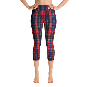 Red Plaid Women's Capri Yoga Pants With Pockets Plus Size Available- Made in USA-Capri Yoga Pants-XS-Heidi Kimura Art LLC