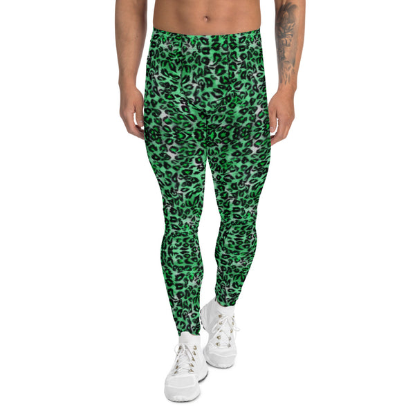 Green Leopard Print Men's Leggings, Animal Print Compression Tights-Made in USA/EU-Heidikimurart Limited -XS-Heidi Kimura Art LLC Green Leopard Print Men's Leggings, Green Colorful Animal Print Leopard Modern Meggings, Men's Leggings Tights Pants - Made in USA/EU/MX (US Size: XS-3XL) Sexy Meggings Men's Workout Gym Tights Leggings