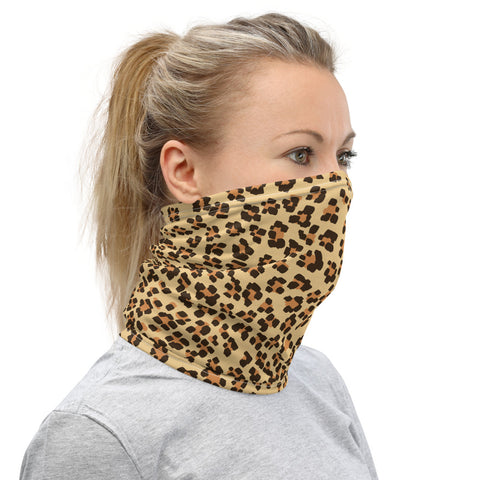 Brown Leopard Neck Gaiter, Animal Print Unisex Face Shield Bandana, Headband-Made in USA/EU-Heidi Kimura Art LLC-Heidi Kimura Art LLCBrown Leopard Neck Gaiter, Animal Print Face Mask Shield, Luxury Premium Quality Cool And Cute One-Size Reusable Washable Scarf Headband Bandana - Made in USA/EU, Face Neck Warmers, Non-Medical Breathable Face Covers, Neck Gaiters