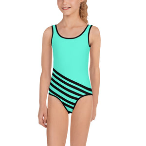 Blue Striped Girl's Swimsuit, Blue + Black Diagonally Striped Print Girl's Cute Premium Kids Swimsuit Bathing Suit - Made in USA/ Europe (US Size: 2T-7)