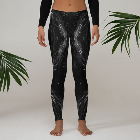 Black Marble Print Women's Leggings, Marble Print Casual Long Tights-Made in USA/EU-Heidi Kimura Art LLC-Heidi Kimura Art LLC