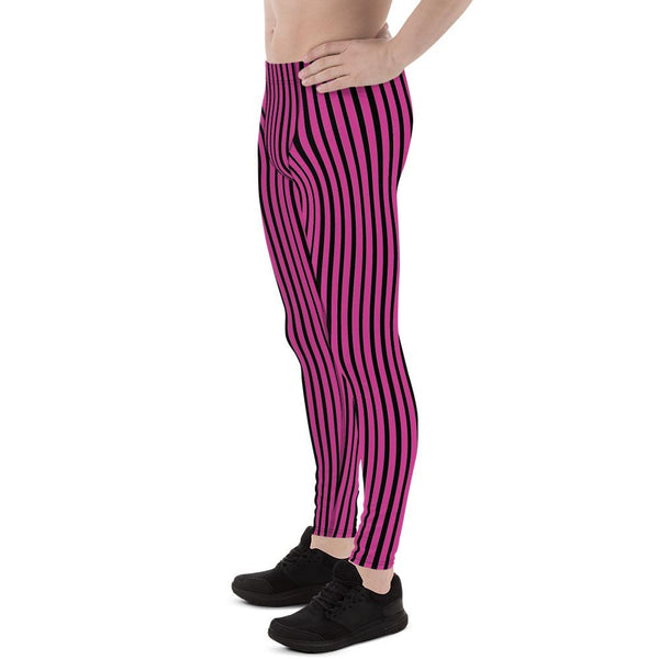 Hot Pink Black Stripe Print Premium Men's Circus Carnival Leggings Pants - Made in USA-Men's Leggings-Heidi Kimura Art LLC