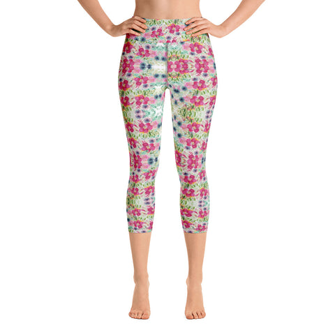 Floral Print Yoga Capri Leggings-Heidikimurart Limited -XS-Heidi Kimura Art LLC Floral Print Yoga Capri Leggings, Rose Mixed Flower Print Women's Gym Capri Leggings Yoga Pants - Made in USA/EU/MX (US Size: XS-XL)