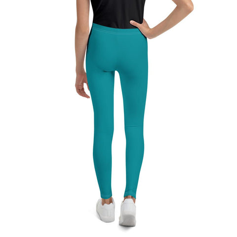 Teal Blue Solid Color Designer Youth Sports Gym Elastic Comfy Leggings - Made in USA/EU-Youth's Leggings-Heidi Kimura Art LLC