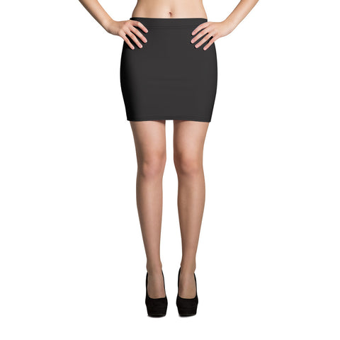 Solid Color Graphite Black Print Stretchy Mid Thigh Women's Mini Skirt-Skirts-XS-Heidi Kimura Art LLC
