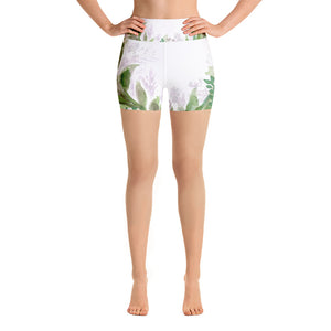 Michie Graceful Purple White Green Floral Print Yoga Shorts - Made in USA