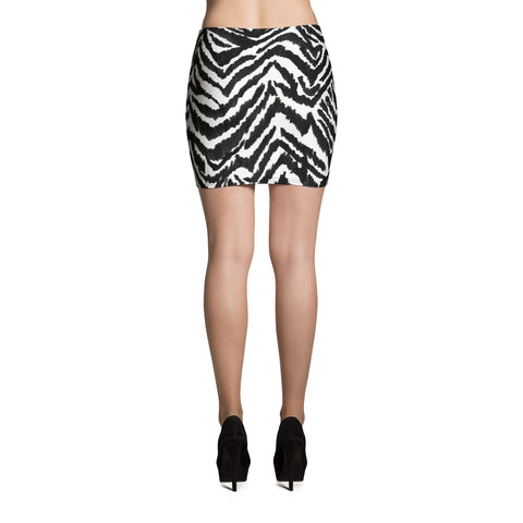 Zebra Print Women's Mini Skirt, Black White Zebra Animal Print Skirt - Made in USA/EU-Mini Skirt-Heidi Kimura Art LLC