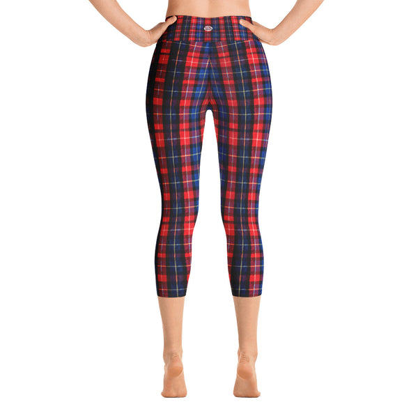 Red Plaid Women's Capri Yoga Pants With Pockets Plus Size Available- Made in USA-Capri Yoga Pants-Heidi Kimura Art LLC