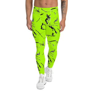 Bright Neon Green Men's Leggings, Marble Print Meggings Compression Tights-Heidikimurart Limited -XS-Heidi Kimura Art LLC Bright Neon Green Men's Leggings, Marble Print Abstract  Men's Leggings Tights Pants - Made in USA/EU (US Size: XS-3XL)Sexy Costume, Bright Colorful Party Meggings Men's Workout Gym Tights Leggings