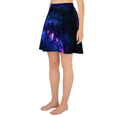 Purple Galaxy Cosmos Space Print Women's Skater Skirt- Made in USA/EU (US Size: XS-3XL)-Skater Skirt-Heidi Kimura Art LLC Purple Galaxy Skater Skirt, Purple Galaxy Cosmos Space Print Alluring Print High-Waisted Women's Skater Skirt, Plus Size Available - Made in USA/EU (US Size: XS-3XL), Galaxy Print Skater Skirt, Galaxy Skirt, Cosmos & Space Print Skater Skirt, Galaxy Skirt Plus Size