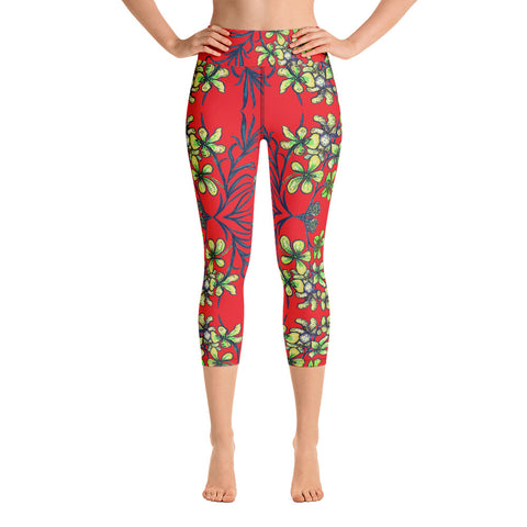 Red Orchids Yoga Capri Leggings, Floral Print Women's Yoga Tights-Made in USA/EU-Heidi Kimura Art LLC-Heidi Kimura Art LLC Red Orchids Yoga Capri Leggings, Orchid Floral Print Women's Yoga Capri Leggings Pants High Performance Tights- Made in USA/EU (US Size: XS-XL)