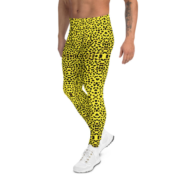 Yellow Leopard Print Men's Leggings-Heidi Kimura Art LLC-Heidi Kimura Art LLC Yellow Leopard Print Men's Leggings, Cheetah Designer Animal Print Men's Leggings Tights Pants - Made in USA/EU (US Size: XS-3XL)Sexy Meggings Men's Workout Gym Tights Leggings