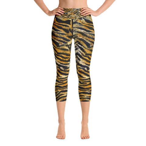 Gray Tiger Striped Women's Capri Sports Leggings Yoga Pants - Made in USA (US Size: XS-XL)