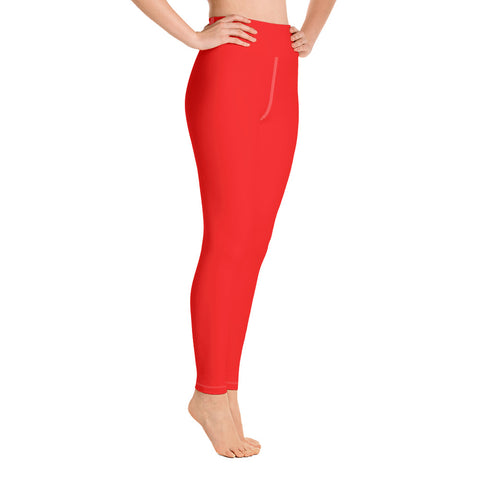 Women's Bright Red Solid Color Active Wear Fitted Leggings Pants - Made in USA-Leggings-2XL-Heidi Kimura Art LLC Bright Red Women's Leggings, Women's Gray Stripe Active Wear Fitted Leggings Sports Long Yoga & Barre Pants - Made in USA/EU (XS-XL)