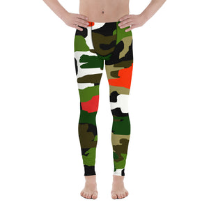 Green Orange Red Camouflage Military Amy Print 38-40 UPF Fashion Men's Leggings-Men's Leggings-XS-Heidi Kimura Art LLC