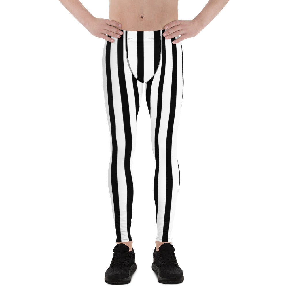 Black White Vertical Striped Meggings, Men's Running Leggings Tights -Made in USA/EU-Men's Leggings-XS-Heidi Kimura Art LLC