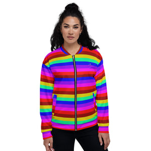 Rainbow Stripe Bomber Jacket, Gay Pride LGBTQ Friendly Jacket For Men or Women-Heidi Kimura Art LLC-XS-Heidi Kimura Art LLC Rainbow Horizontal Striped Bomber Jacket, Gay Friendly LGBTQ Friendly Jacket, Best Premium Quality Modern Unisex Jacket For Men/Women With Pockets-Made in EU