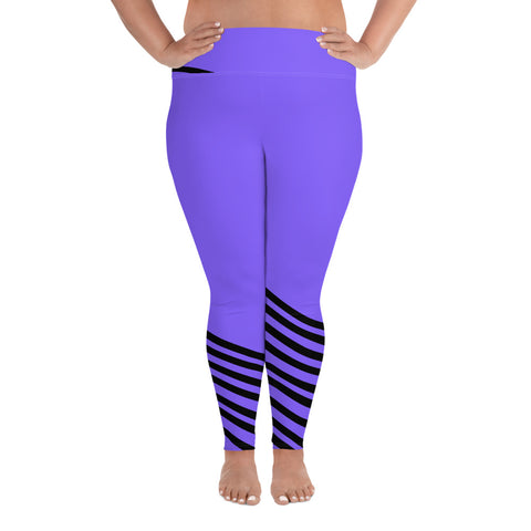 Fujie Chic Purple & Black Diagonal Stripe Print Plus Size Women's Leggings - Made in USA (US Size: 2XL-6XL)