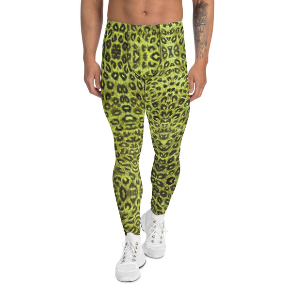 Yellow Leopard Men's Leggings, Animal Print Compression Running Tights-Made in USA/EU-Heidikimurart Limited -XS-Heidi Kimura Art LLC Yellow Leopard Print Men's Leggings, Yellow Animal Print Leopard Modern Meggings, Men's Leggings Tights Pants - Made in USA/EU/MX (US Size: XS-3XL) Sexy Meggings Men's Workout Gym Tights Leggings