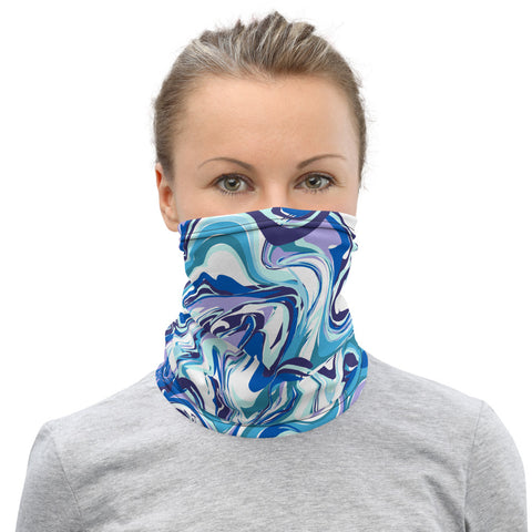 Blue Marble Neck Gaiter, Abstract Face Covering Masks Shield, Bandana-Made in USA/EU-Heidi Kimura Art LLC-Heidi Kimura Art LLCBlue Marble Neck Gaiter, Abstract Face Mask Shield, Luxury Premium Quality Cool And Cute One-Size Reusable Washable Scarf Headband Bandana - Made in USA/EU, Face Neck Warmers, Non-Medical Breathable Face Covers, Neck Gaiters