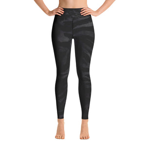 Dark Black Tiger Stripe Animal Skin Pattern Active Wear Fitted Leggings - Made in USA-Leggings-XS-Heidi Kimura Art LLC Black Tiger Stripe Women's Leggings, Dark Black Women's Tiger Stripe Animal Skin Pattern Active Wear Fitted Leggings Sports Long Yoga & Barre Pants - Made in USA/EU