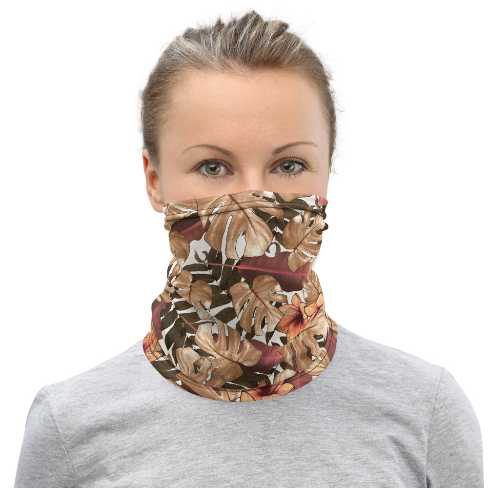 Fall Tropical Print Neck Gaiter, Unisex Bandana, Face Covering Shield Mask-Made in USA/EU-Heidi Kimura Art LLC-Heidi Kimura Art LLCFall Tropical Print Neck Gaiter, Palm Leaf Print Face Mask Shield, Luxury Premium Quality Cool And Cute One-Size Reusable Washable Scarf Headband Bandana - Made in USA/EU, Face Neck Warmers, Non-Medical Breathable Face Covers, Neck Gaiters