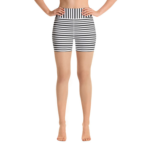 Classic Black White Modern Striped Print Women's Yoga Workout Shorts- Made in USA/ EU-Yoga Shorts-Heidi Kimura Art LLC