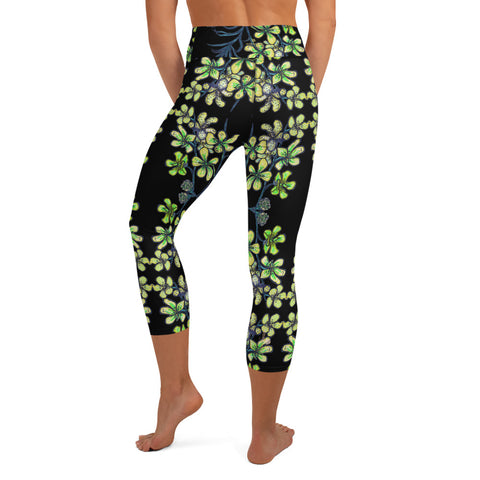 Black Orchid Yoga Capri Leggings, Floral Print Women's Tights-Made in USA/EU-Heidi Kimura Art LLC-Heidi Kimura Art LLC Black Orchid Yoga Capri Leggings, Light Yellow Orchids Pattern Floral Print Women's Yoga Capri Leggings Pants High Performance Tights- Made in USA/EU (US Size: XS-XL)