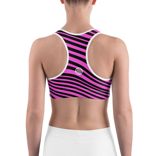 Hot Pink Girlie Black Diagonal Striped Print Women's Fitness Bra-Made in USA-Sports Bras-Heidi Kimura Art LLC