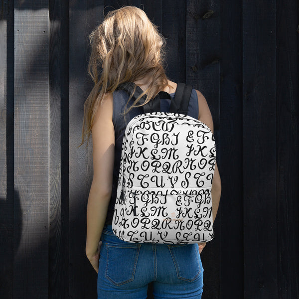 "Calligraphy Print Travel Water Resistant College Travel Designer Backpack-Made in USA-Backpack-Heidi Kimura Art LLC Calligraphy Travel Backpack, White Black Designer Calligraphy Handlettering Print Designer Medium Size (Fits 15"" Laptop) Water Resistant College Unisex Backpack for Travel/ School/ Work - Made in USA/ Europe"