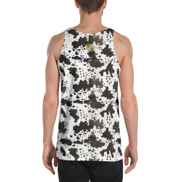 White Brown Cow Print Animal Unisex Premium Quality Luxury Men's Tank Top-Men's Tank Top-Heidi Kimura Art LLC