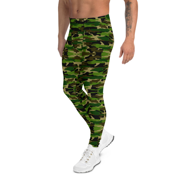Green Camo Print Men's Leggings-Heidikimurart Limited -Heidi Kimura Art LLC Green Camo Print Meggings, Camouflage Military Green Army Print Men's Yoga Pants Running Leggings & Fetish Tights/ Rave Party Costume Meggings, Compression Pants- Made in USA/ Europe/ MX (US Size: XS-3XL) Green Camo Men's Leggings, Compression Pants, Green Camo Men Workout Tights, Camo Leggings