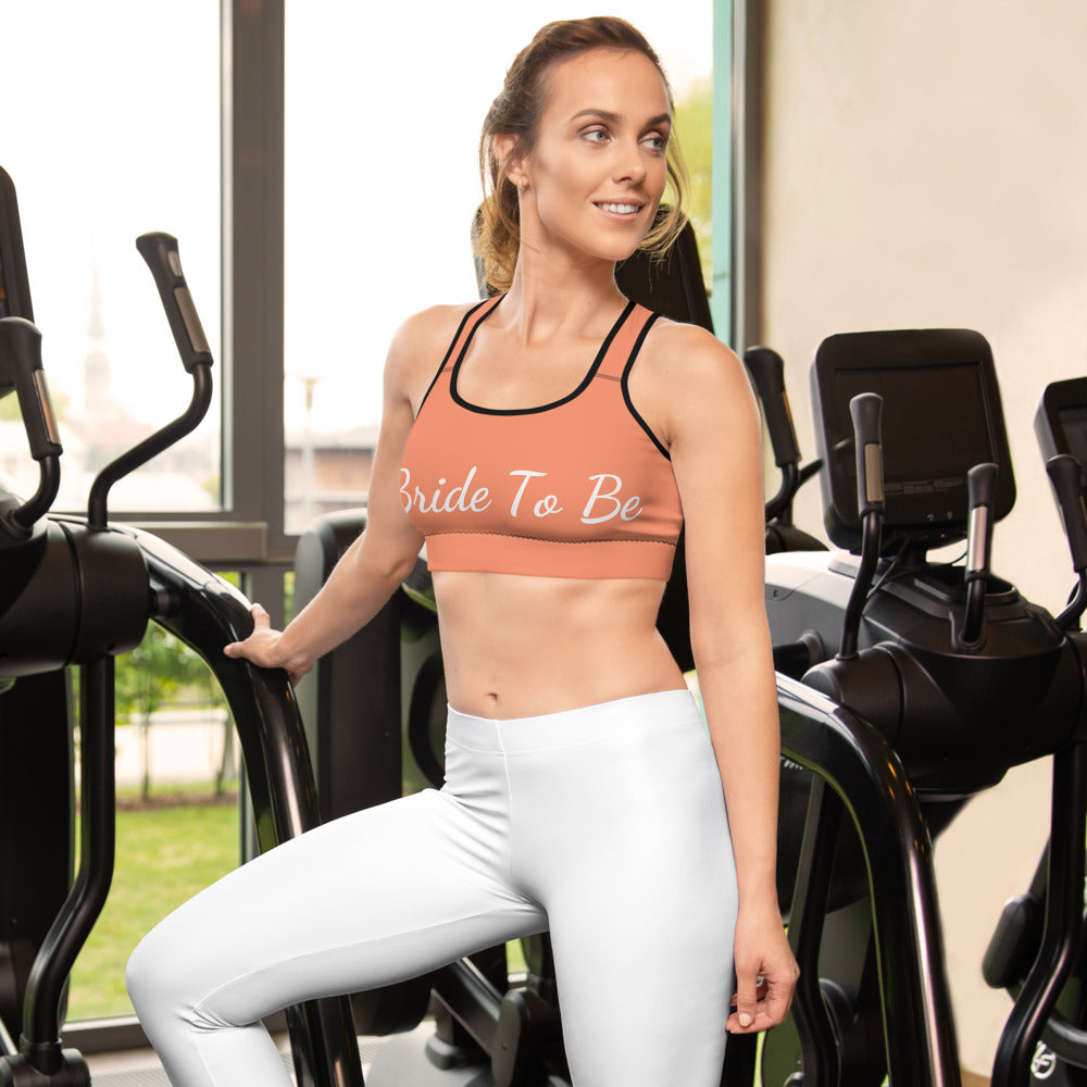 Peach Pink Bride To Be Text Women's Premium Gym Workout Sports Bra- Made in USA/ EU-Sports Bras-White-XS-Heidi Kimura Art LLC